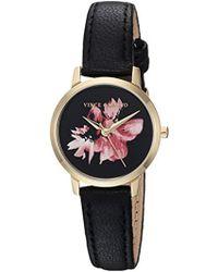 Vince Camuto - Vc/5352bkbk Floral Pattern Dial Black Leather Strap Watch - Lyst