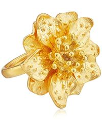 Kenneth Jay Lane - Satin Gold-tone Flower Ring, Size 7 - Lyst
