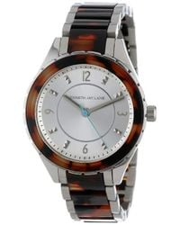 Kenneth Jay Lane - Kjlane-2216 Silver Dial Stainless Steel And Brown Tortoise Resin Watch - Lyst