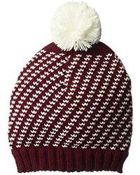 ca0a27ea5c3 Lyst - Wigwam Wayward Beanie 2 Color Broad Striped Knit Acrylic Hat ...