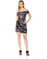 Guess - Off The Shoulder Dahlia Dress Dress, -technicolor Lily Black Print, Xs - Lyst