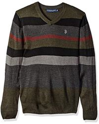 U.S. POLO ASSN. - Multi Stripe V-neck Sweater - Lyst