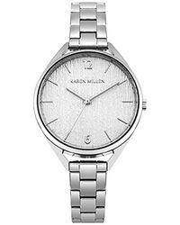 Karen Millen - Textured Dial Bracelet Watch - Silver Colour - Lyst