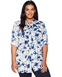 Calvin Klein - Plus Size Ptrd Roll Sleeve, - Lyst