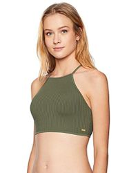 Roxy Goldy Sandy Full Crop Bikini Swimsuit Top - Green