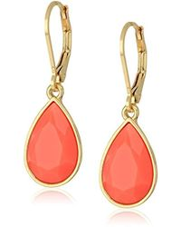 Nine West - Gold-tone And Coral Tear Drop Earrings - Lyst