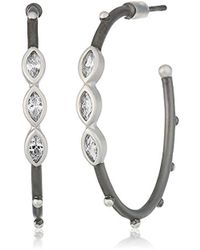 Freida Rothman - S Signature Marquise Hoop Earrings, Black & White, Size 0 - Lyst