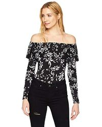 Guess - Off Shoulder Pleated Bodysuit - Lyst