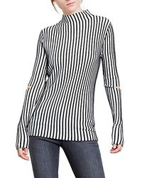 Kenneth Cole - Cold Elbow Stripe Sweater With Zip Shrug - Lyst