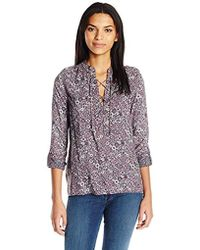 William Rast - Lily Lace Front Blouse Whartonpsly - Lyst