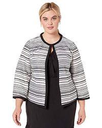 2f4e4b38a32b Kasper - Sheer Stripes Jewel Neck Open Front Jacket - Lyst