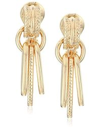 "Napier - ""clean Cut"" Gold-tone Double Drop Clip-on Earrings - Lyst"