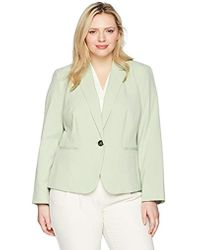 Nine West - Size Plus Bi Stretch 1 Button Jacket With Notch Collar - Lyst