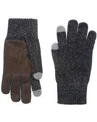 True Religion - Two Tone Knit Touchtek Gloves, Black, One Size - Lyst