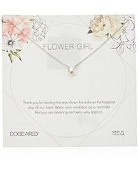 """Dogeared - Flower Girl Flower Card Small Button White Pearl Necklace, 16"""" + 2"""" Extension - Lyst"""