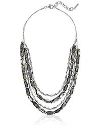 "Nine West - Tri-tone 16"" Multi-row Necklace - Lyst"