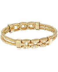 Napier - Gold-tone Textured Stretch Bracelet - Lyst