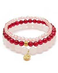 Satya Jewelry - Rose Quartz Fuchsia Agate Cherry Quartz Gold Ganesha Lotus Stretch Bracelet Set, One Size - Lyst