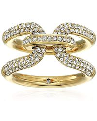 Michael Kors - Brilliance Iconic Links Gold-tone Pave Ring - Lyst