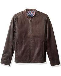 13ee46fa8 Ted Baker - Mate Modern Slim Fit Leather Biker Jacket - Lyst