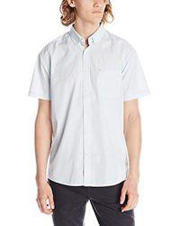 Quiksilver - Everyday Wilsden Short Sleeve Button Down Shirt, Angel Falls, Large - Lyst