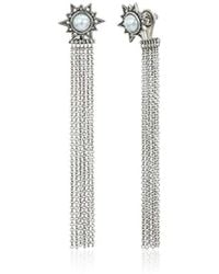 Rebecca Minkoff - Stone With Fringe Front Back Earring Jackets - Lyst