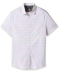 Kenneth Cole - Short Sleeve Horizontal Stripe Shirt, - Lyst