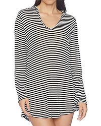 e27c71dfcf Lyst - Splendid Striped Long-sleeve Hooded Tunic Coverup in Gray