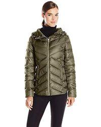 Sam Edelman - Clara Lightweight Packable Down Jacket, Olive, Large - Lyst