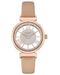 Kenneth Cole - Rose Gold-tone Beige Leather Watch - Lyst