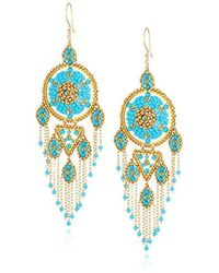 Miguel Ases - Large Dreamcatcher Dangle Fringe Chain Chandelier Drop Earrings - Lyst