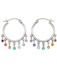 Satya Jewelry - Multi Gemstone Silver Chakra Hoop Earrings, One Size - Lyst