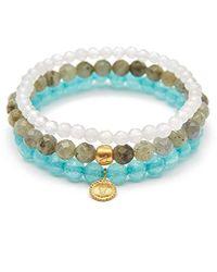 Satya Jewelry - Labradorite Angelite White Jade Gold Hamsa Lotus Stretch Bracelet Set, Multi, One Size - Lyst