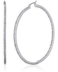 "Kenneth Cole - ""shiny Silver Items"" Silver And Crystal Large Hoop Earrings - Lyst"