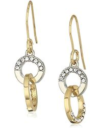 Kenneth Cole - Kenneth Cole New Trinity Rings Two-tone And Crystal Drop Earrings - Lyst