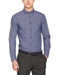 Armani Jeans - Textured Cotton Long Sleeve Button Down Shirt - Lyst