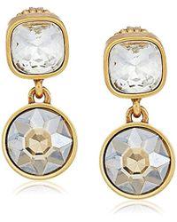Badgley Mischka - Double Champagne Stone Drop Earrings - Lyst