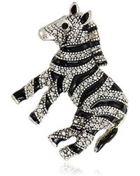 Napier - Crystal And Jet Zebra Brooches And Pin - Lyst