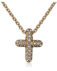 Judith Jack - Golden Class Sterling Silver And Gold-tone Crystal Marcasite Reversible Cross Pendant Necklace - Lyst
