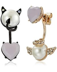 "Betsey Johnson - ""pearl Critters"" Angel And Devil Mismatch Front/back Earrings Jackets - Lyst"