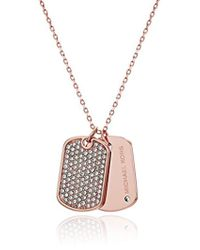 Michael Kors - S Perfect For Gifting - Pave-accented Dog Tag Pendant Necklace - Lyst