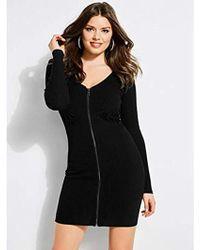 Guess - Long Sleeve Reversible Zip Front Dress - Lyst