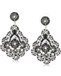 Miguel Ases - Jet And Sterling Silver Medium Embroidered Earrings - Lyst