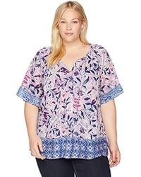 cf8f865e60f Lyst - Lucky Brand Womens Plus Scarf Print Short Sleeves Peasant Top ...