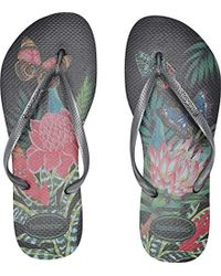 7bf3cfb872e0 Lyst - Havaianas Slim Tropical Floral Flip Flops Black Leaf in Black
