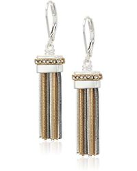 Nine West - Tri-tone And Crystal Tassel Drop Earrings - Lyst