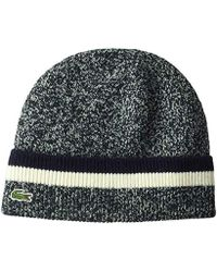 e054e389768 Lacoste - Made In France Wool 1x1 Double Fil Beanie - Lyst