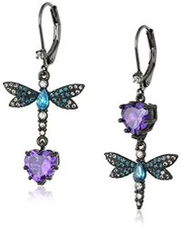 """Betsey Johnson - """"cubic Zirconia Critter"""" Cubic Zirconia And Butterfly Double Mismatch Drop Earring - Lyst"""