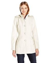 Kensie - Button Up Wool Jacket With Knit Collar And Fully Removable Hood - Lyst