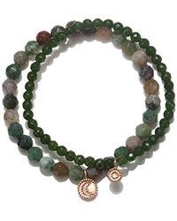 Satya Jewelry - Fancy Jasper & Jade Rose Gold Sun And Moon Stretch Bracelet Set, Green, One Size - Lyst